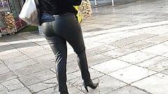 Greek milf in leather leggings