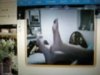feet sole in webcam my friend long toes