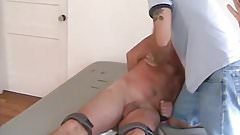 Horny mature guy tied up and tickled hard by two friends