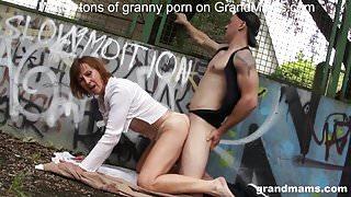 Granny enjoys public sex at the basketball court