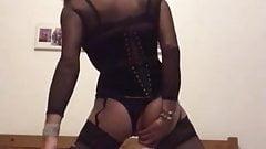Black corset leboutin overknee boots dildo fun
