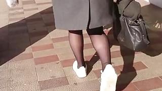 Cum on sheer Black pantyhose 2302