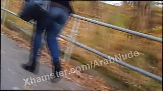 Arab Hijabi with tight big ass jeans voyeur she smiled