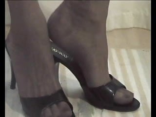 P 2-4 - FOOT FETISH: My Feet in Stockings with open Mules