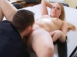 British slut Faye Rampton gets fucked in an office