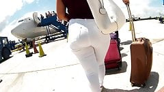 Full panty lines big heavy booty white jeans