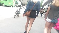 Ass falling out of her shorts with face