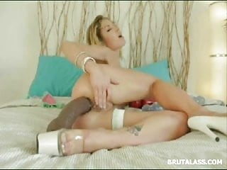 Stunning Blonde Stretching Her Tight Ass With A Brutal Dildo