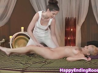 Tall erotic masseuse and her petite client