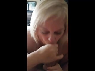 Mature blonde slut sucks out a huge cum load