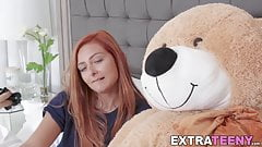 Ginger petite rides strapon teddy bear before riding cock