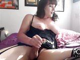 Chubby Transgirl jerking in stockings