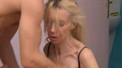 Skinny cum filled ugly slut