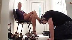 shoe licking (shoe worship, femdom)