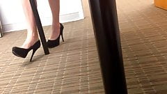 Candid Sexy Tired Feet Dipping at the Office 2 (quick)