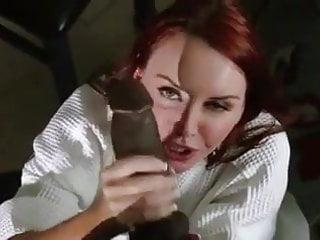 Redhead milf Janet milking sucking black cock for cum