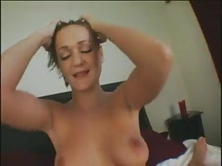 Blonde slut gives sloppy blowjob with cim