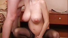 Pregnant russian milf fucks 2 guys RO7