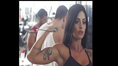Aline Riscado Huge Biceps in Biceos Curls.