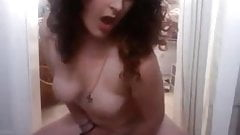 Curly haired brunette show on cam