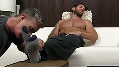 He makes him cum while licking his feets