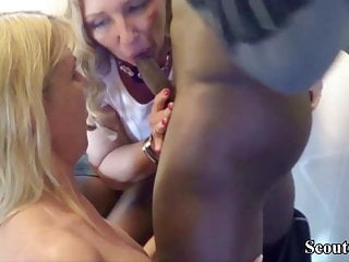 Two German MILFs Seduce the Teen Pizza Guy to Fuck
