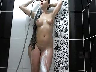 Cute Long Haired Brunette Shower and Having Fun, Long Hair
