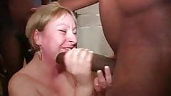 Beautiful bbw slut gangbang and bukkake session