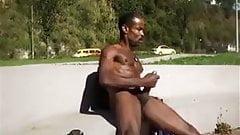 Black man jerking off in public