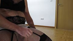 Cumshot wearing black and white lingerie