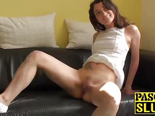Cute brunette chick Valentina Bianco playing with her pussy