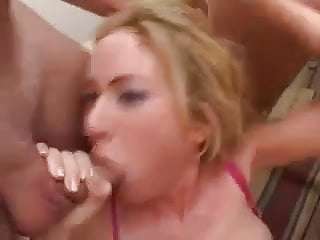 Blonde Slut gets gang banged with some double anal