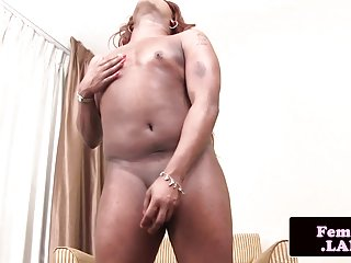 Preview 6 of Amateur black trap strips and pulls cock solo
