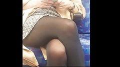 Black opaque pantyhose girl in metro