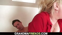 Busty blonde granma takes double penetration