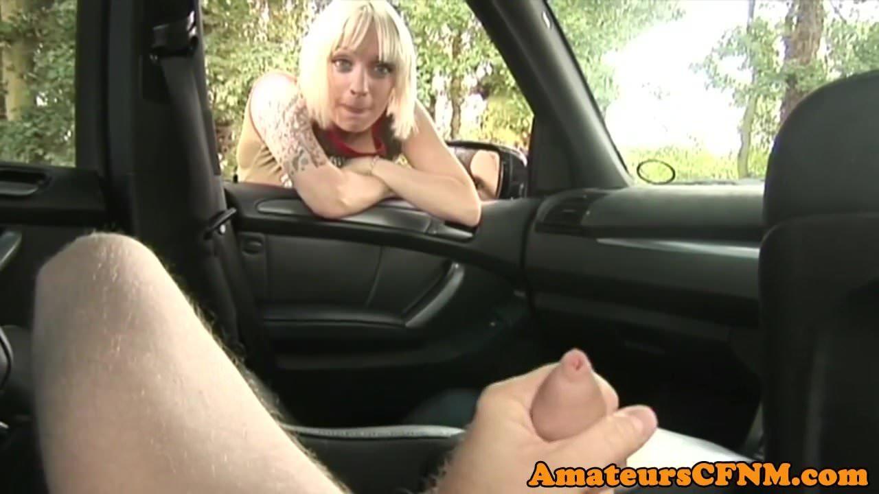 cute amateur cfnm uncut handjob in car