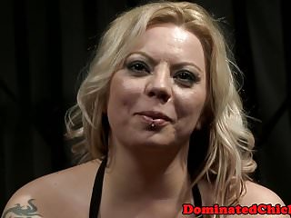 Busty milf dominated and fucked in a cage