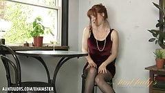 Amber Dawn pleasures herself wearing thigh highs.