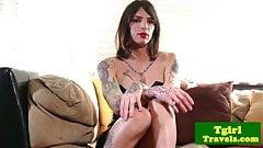 Tattooed amateur tranny wanking off