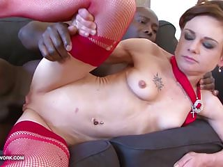 Petite mature gets her skinny ass fucked by big black dick