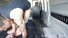 18yo hitchhiker Renee Roulette tied up for van hammering's Thumb