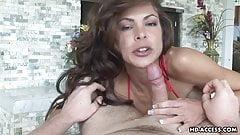 Horny gal enjoys gobbling cock