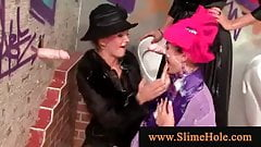 Lesbians using strapon and dildos