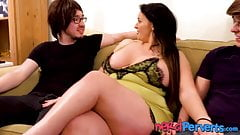 Chubby Brit skank servicing two nerd dicks all alone's Thumb