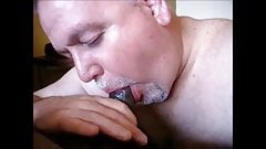 Daddy bear cleans up cock