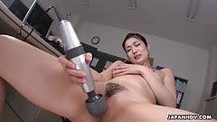 Japanese office lady, Ryu is masturbating while at work, unc