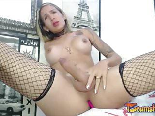 Colombian blonde tgirl big cock cumshot