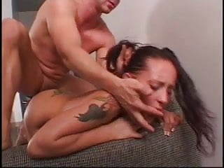 Teen brunette slurps and licks huge cock and balls