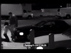 Teen sucking a security guy on parking lot