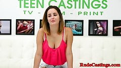 Busty teen roughfucked doggystyle at casting